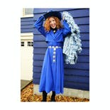 another view of 80's Cobalt Blue Trench Dress