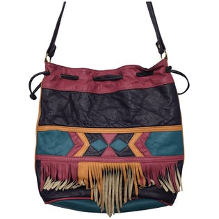 80's Colorful Pleather Western Fringe Purse