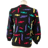 another view of 80's Colorful Wool Hand Made Sweater