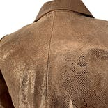 another view of 80's Copper Brown Leather Snakeskin Print Peplum Blazer by Emilie D