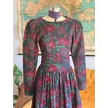 another view of 80's Cordouroy Floral Puff Sleeve Prairie Dress by Laura Ashley