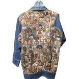 another view of 80's Denim Jacket with Tapestry People Print by Nadia