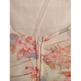 80's Dreamy White and Pink Floral Sundress with Boning and Full Skirt by Laura Ashley