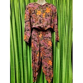 80's Fall Colored Floral and Leopard Rayon Jumpsuit by Milanzo