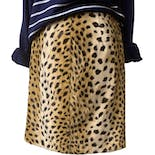 80's Faux Fur Leopard Print Mini Skirt