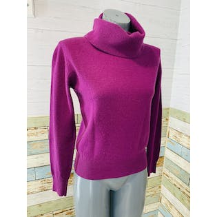 80's Purple Cashmere Turtleneck Sweater by Feen Wright & Manson