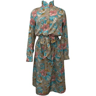 80's Floral Belted Mandarin Collar Dress