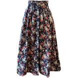 70's Navy Floral Midi Skirt by Laura Ashley