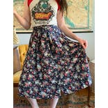 another view of 70's Navy Floral Midi Skirt by Laura Ashley