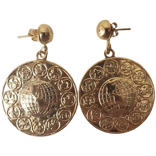80's Gold Round Zodiac Earrings with World Graphic