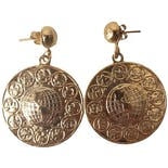 80's Gold Round Earrings with World Graphic
