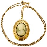 80's Goldtone Green Cameo Locket Necklace
