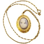 80's Goldtone Light Blue Cameo Locket Necklace