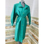 another view of 80's Teal Trench Coat by Cambridge