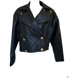 80's Leather Double Breasted Jacket with Gold Buttons by Express