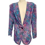 80's Paisely Drape Front Blazer by Lady Carol Petites