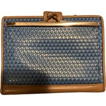 another view of 80's Blue and Brown Logo Wallet by Liz Claiborne