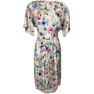 80's White Floral Dress with Cinched Waist by Maggy London