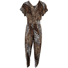 80's Mixed Animal Print Jumpsuit with Matching Belt by M.j. Carroll