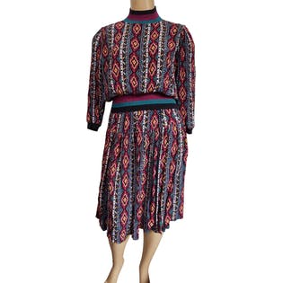 80's Mock Neck Printed Two Piece Skirt Set by Donna Toran