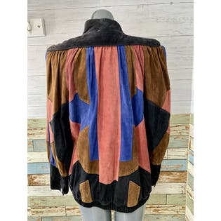 80's Multicolor Suede Patchwork Jacket