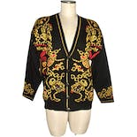 80's Oversized Cardigan with Baroque Pattern On Black