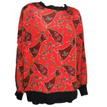 80's Oversized Red Jewel Print Popover Blouse by Personal, the Leslie Fay Company