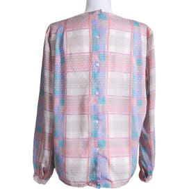80's Pastel Abstract Linear Blouse by Liz Claiborne