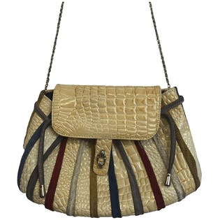 80's Patent Embossed Multicolor Suede Striped Purse