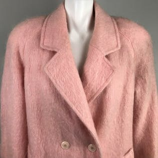 80's Pastel Pink Mohair Wool Coat by Paul Levy