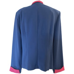 80's Pink and Blue Long Sleeve Zippered Blazer by Drapers And Damons