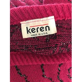 80's Pink Sweater with Black & Silver Swirls by Keren
