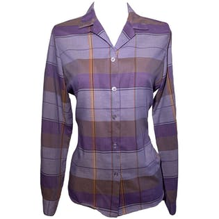 80's Plaid Button Up by Cheryl Tiegs