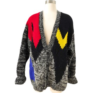 80's Primary Color Blocked Cardigan by Avenues By Street Scenes
