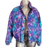 80's Print Reversible Puffer Coat by Down House