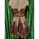 another view of 80's Gold Party Mini Dress by Gunne Sax