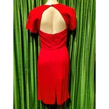 another view of 80's Red Dress with Ruffle by B.b.collections