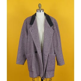 80's Purple Striped Coat with Faux Leather Collar