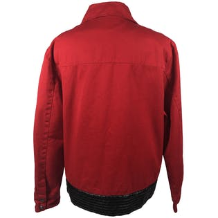 80's Red and Black Pleather Detail Bomber Jacket by Raw Diamond