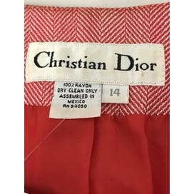 80's Red and White Chevron Suit by Christian Dior