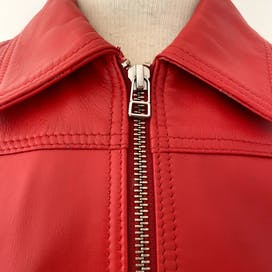 80's Red Leather Bomber Jacket by The Bombay Leather Co
