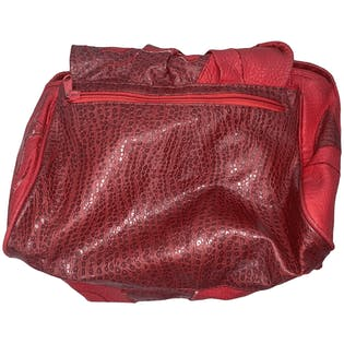 80's Red Multi Texture Leather Crossbody Bag with Gold Hardware by Nas Bag