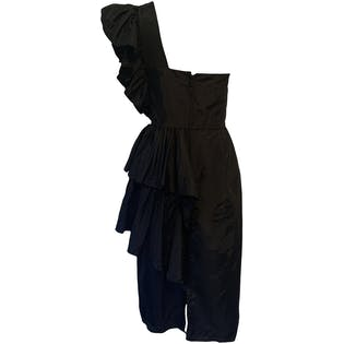 80's Satin Asymmetrical Party Dress