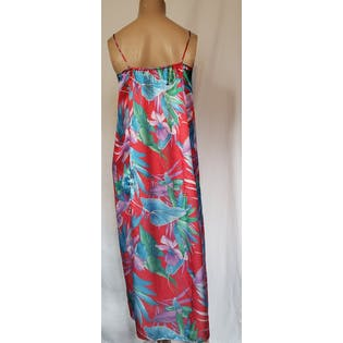 80's Satin Tropical Print Maxi Gown by Mary McFadden