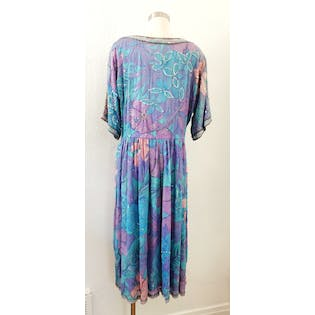 80's Silk and Sequin Floral Dress by Judith Ann Creations