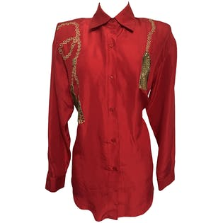 80's Red Silk and Beaded Button Up Blouse by Shangrila Silks