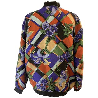 80's Silk Bomber Jacket with Floral Geometric Print by Chivalry