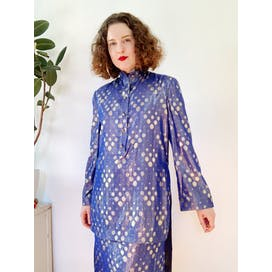 80's Silk Metallic Blue and Silver Polka Dot Skirt Set by Adele Simpson