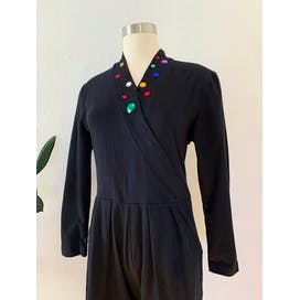 80's Stretchy Black Bejeweled Jumpsuit