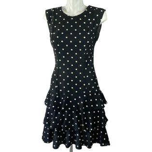 80's Sleeveless Black Polka Dot Dress